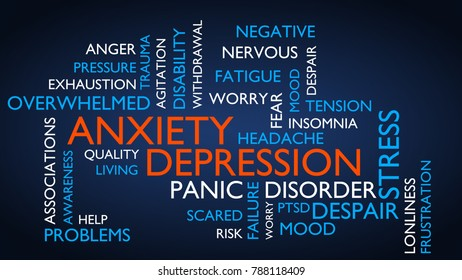 Anxiety, depression, stress, disorder word tag cloud. 3D rendering, blue variant.