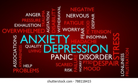 Anxiety, depression, stress, disorder word tag cloud. 3D rendering, red variant.