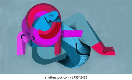 Anxiety and emotional block. Mental and physical block. Illustration. Illustration that reflects the impotence and difficulty caused by anxiety. The age of anxiety. Abstract. Print quality.
