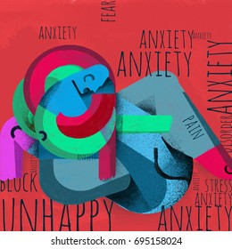 Anxiety and fear. Illustration. Abstract conceptual illustration about anxiety. Composition with abstract human figure and words related to anxiety.
