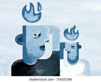 Anxiety. Heads with anxiety flames. Minimalist and conceptual illustration.. Blue. Illustration shows people with anxiety represented by flames above head. Age of anxiety.