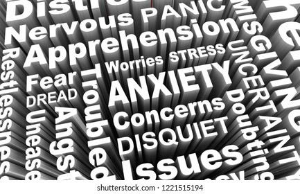 Anxiety Stress Fear Worry Uncertainty Word Collage 3d Illustration