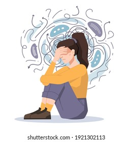 Anxiety, woman fears and phobias, thoughts get confused and crushed isolated girl sitting on floor with headache. troubled unhappy girl, anxious scared female in despair, psychological problems