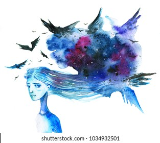 Anxious long-haired woman with dark blue cloud and birds over her head - hand drawn watercolor illustration in blue colors on white background
