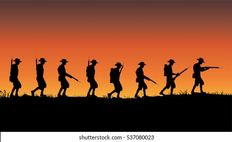 Anzac Day, Australian or New Zealand soldiers of World War 1 marching on a ridge line