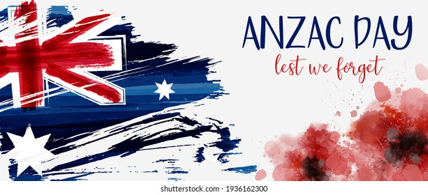 Anzac Day banner with grunge watercolor Australia flag and two red poppy flowers. Remembrance symbol. Lest we forget.