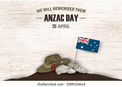 Anzac Day poppies memorial anniversary holiday. We will remember them. Anzac Day 25 April Australian war remembrance day poster or greeting card design of australian flag, Anzac army slouch hat.