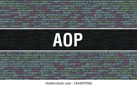 AOP text written on Programming code abstract technology background of software developer and Computer script. AOP concept of code on computer monitor. Coding AOP programming website