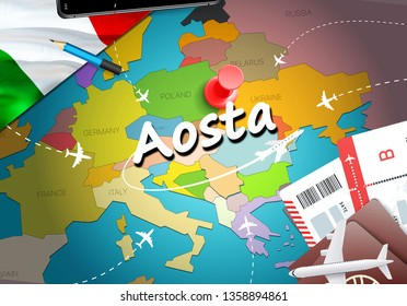 Aosta city travel and tourism destination concept. Italy flag and Aosta city on map. Italy travel concept map background. Tickets Planes and flights to Aosta holidays Italian vacation