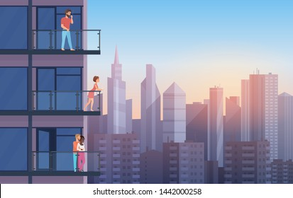 Apartment Balcony in modern house with resting people in sunset. Urban sityscape skyscrapers background cartoon illustration.