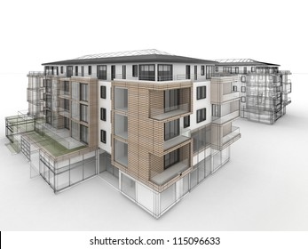 apartment building design progress, architecture visualization in mixed drawing and photo realistic style