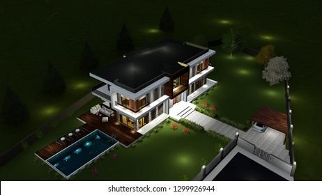 apartment exterior design. 3D illustration