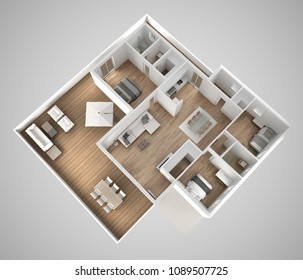 Apartment flat top view, furniture and decors, plan, cross section interior design, architect designer concept idea, gray background, 3d illustration