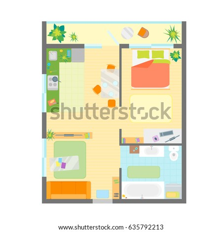 Apartment Floor Plan Furniture Top View Stock Illustration 48 Adorable Apartments Floor Plans Design Style