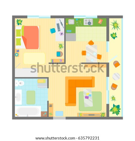 Apartment Floor Plan Furniture Top View Stock Illustration 48 Awesome Apartments Floor Plans Design Style