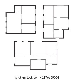 Apartment Floor Plan Set Top View. Scheme or Layout Living Building. illustration
