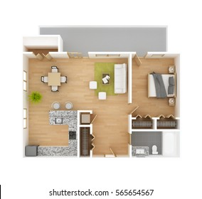 Apartment floor plan top view isolated on white background. One bedroom one bath apartment. Residential project 3D illustration.
