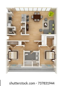 Apartment floor plan top view. Two bedroom apartment with open-space concept living room. Rental property or new home 3D illustration.