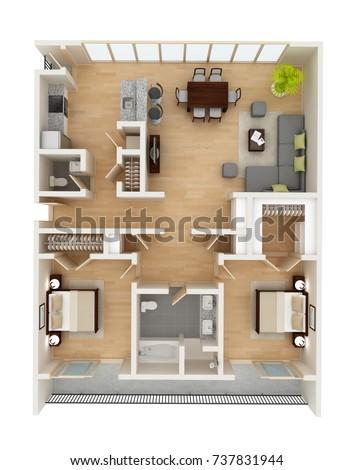 Apartment Floor Plan Top View Two Stockillustration 48 Gorgeous Apartments Plans Designs Concept