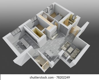 apartment interior.perspective view