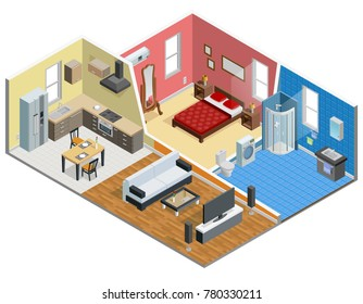 Apartment isometric design with bedroom bathroom kitchen and living room  illustration