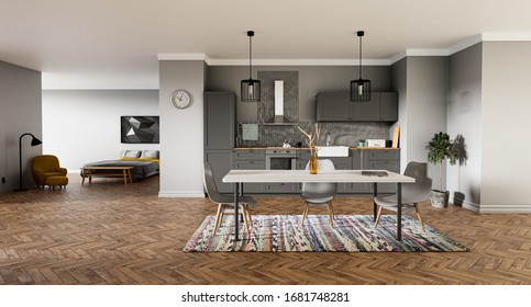 Apartment with kitchen and bedroom in gray colors, Scandinavian style - 3d rendering