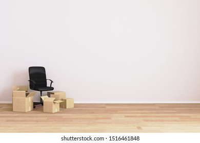 Apartment moving. Empty room with chair and carton boxes. Moving concept. House moving. Room for mockup. 3d rendering.