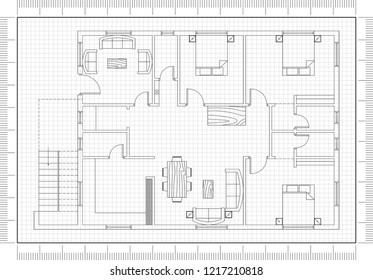 Apartment plan blueprint