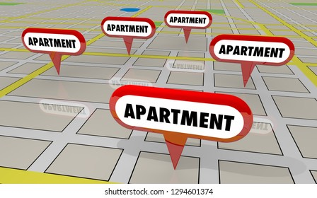 Apartment Rental Properties Map Pins 3d Illustration