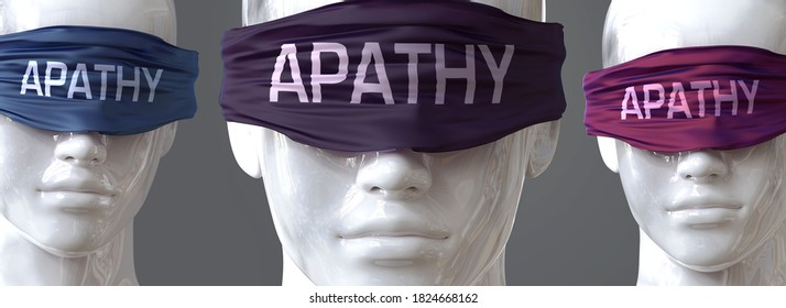 Apathy can blind our views and limit perspective - pictured as word Apathy on eyes to symbolize that Apathy can distort perception of the world, 3d illustration