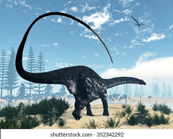 Apatosaurus dinosaur walking in the desert with calamite and onychiopsis plants by day - 3D render