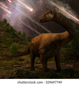 An apatosaurus looks upon meteors raining down that would precede the larger asteroid strike that would lead to the extinction of the dinosaurs 65 million years ago.