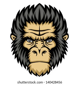 Ape head logo in black and white. This is illustration ideal for a mascot and tattoo or T-shirt graphic. Raster version, vector file also included in the portfolio.