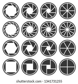 Aperture Camera Shutter Focus Icons Set.