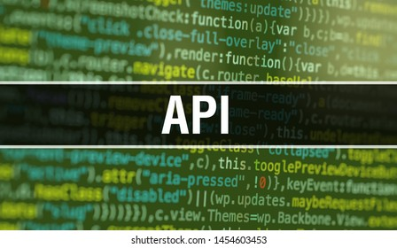 API with Abstract Technology Binary code Background.Digital binary data and Secure Data Concept. Software / Web Developer Programming Code and API. API Java Script Abstract Computer Script