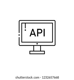api, internet technology icon. Element of internet technology icon for mobile concept and web apps. Thin line api, internet technology icon can be used for web and mobile