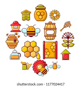 Apiary honey icons set. Cartoon illustration of 16 apiary honey icons for web