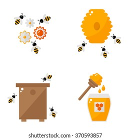 Apiculture isolated icons on white background. Beekeeping elements. Apiary farm. Honey bee, beehive, bee house, honey jar, honey spoon, honey flower. Flat style illustration.