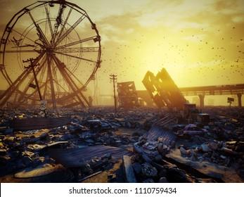 Apocalypse landscape sunset. 3D rendering concept