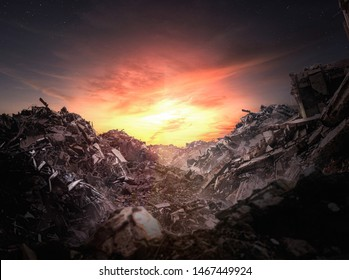 Apocalypse rubble at sunset - Illustration