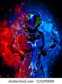 apocalyptic astronaut girl exploring 3d illustration