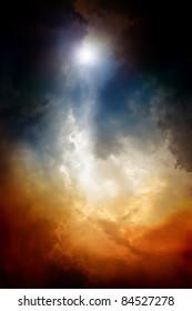 Apocalyptic background - dark dramatic sky, bright light form above. End of time, armageddon, countdown to armageddon, nostradamus armageddon 2012, mayan apocalypse 2012