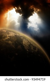 Apocalyptic background - planet in dark sly, light from above