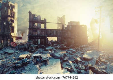 apocalyptic city sunset. Creative 3D illustration