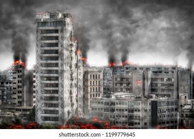 Apocalyptic cityscape. Digital illustration.