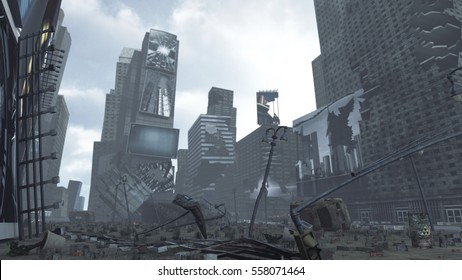 Apocalyptic ruined Time Square New York Manhattan. The images on the screens on the background are illustrations from our own database. 3D rendering