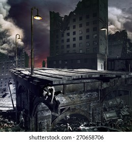 Apocalyptic scenery with ruined city, destroyed bridge and zombies