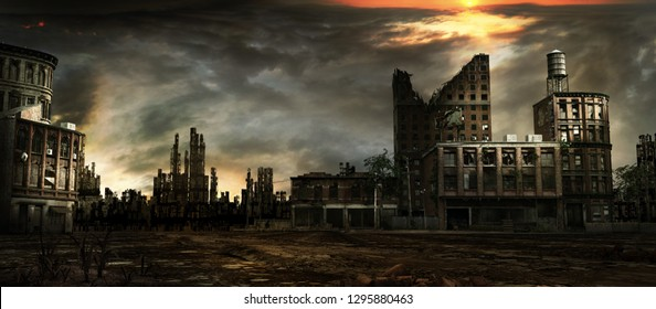 Apocalyptic scenery with sunset over ruined city. 3D illustration.