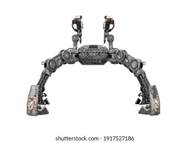 apocalyptic war drone with raised up legs in white background rear view, 3d illustration