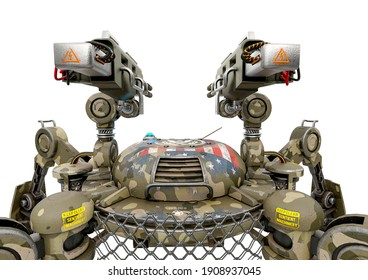 apocalyptic war drone standing up in white background close up rear view, 3d illustration